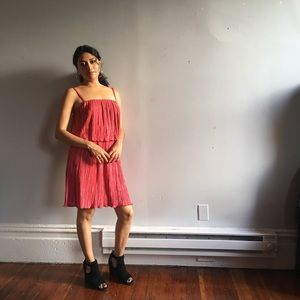 Two-layer Pink Midi Dress